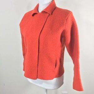 Eileen Fisher rust orange boiled wool jacket